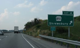 Exit 4 sign on Interstate 83
